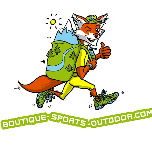 Mascot logo with the title 'Créer un logo pour la Boutique Sports Outdoor'