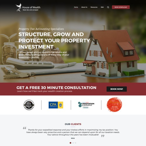 Clean website with the title 'RealEstate Investment Company Design'