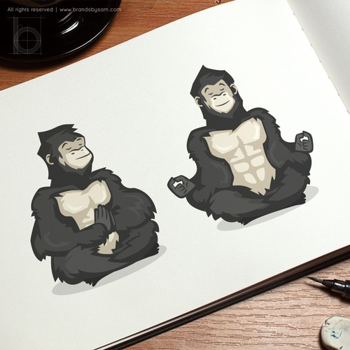 Gorilla logo with the title 'Meditating gorilla in a state of zen for GORILLA Fit & Well'