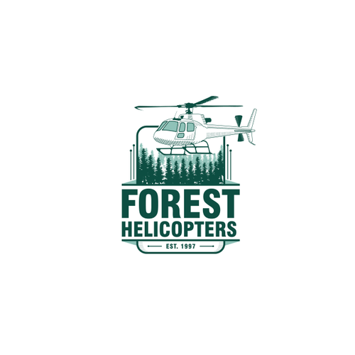 Helicopter logo with the title 'Forest Helicopters company'