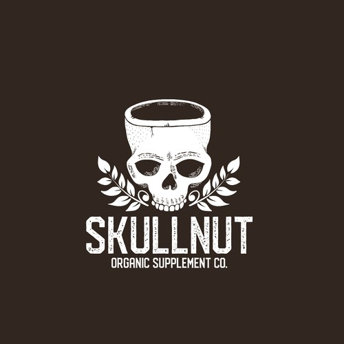 Coconut logo with the title 'Skullnut organic supplement'