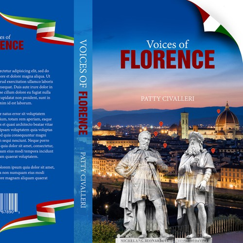 "Attraction design with the title 'Cover for book ""Voices of Florence""'"
