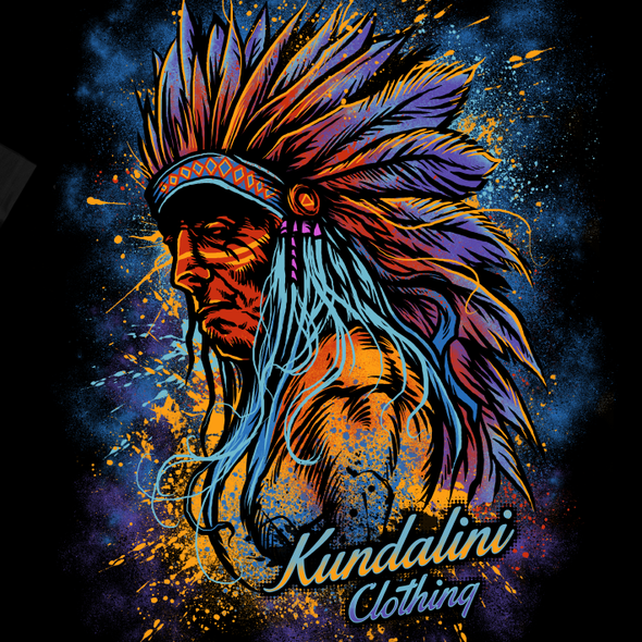 Chief design with the title 'Psychedelic Indian T shirt design'