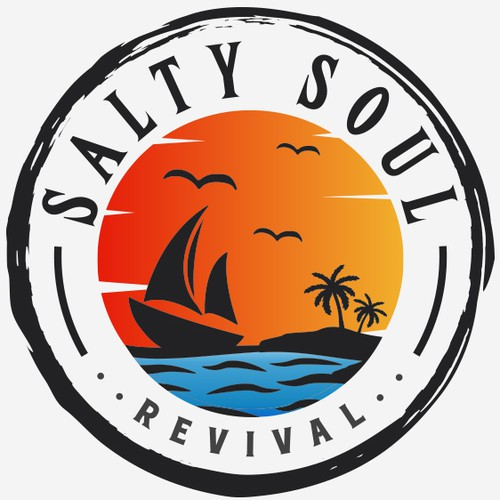 Sailboat design with the title 'Salty Soul Revival'