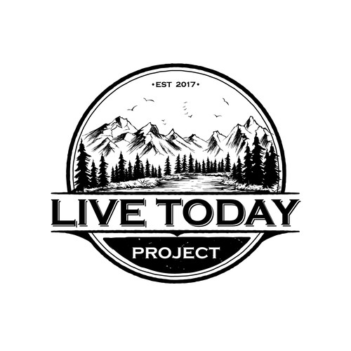 Lifestyle logo with the title 'Vintage outdoor logo for LiveToday Project'