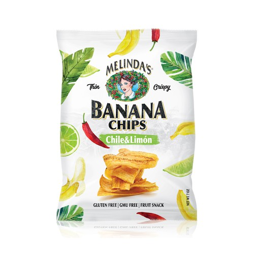 Chips packaging with the title 'Banana chips'