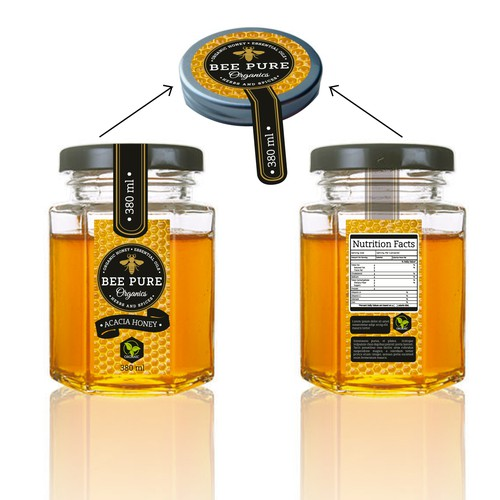 Honey packaging with the title 'Organic Honey - Acacia'