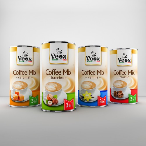 Coffee label with the title 'Elegant package design for Veox coffee'