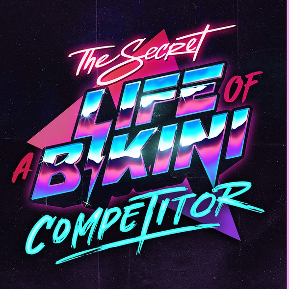 Synthwave design with the title 'Retro 80's typography'