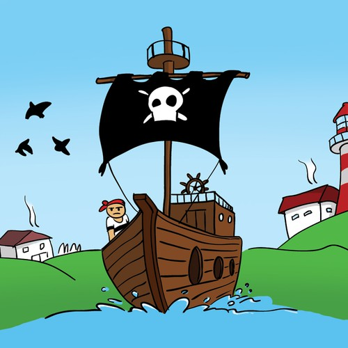 Pirate illustration with the title 'Pirate adventure'