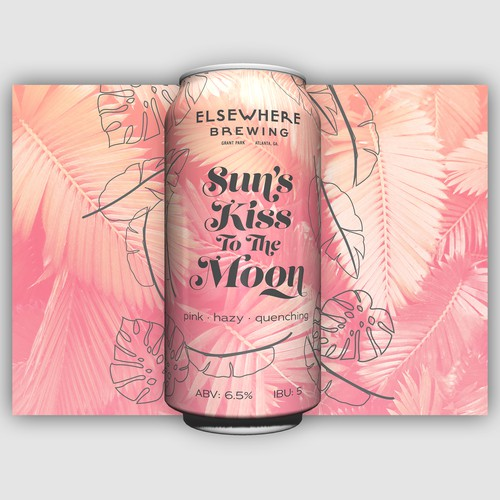 Tropical label with the title 'Tropical pink leaves beer can label'