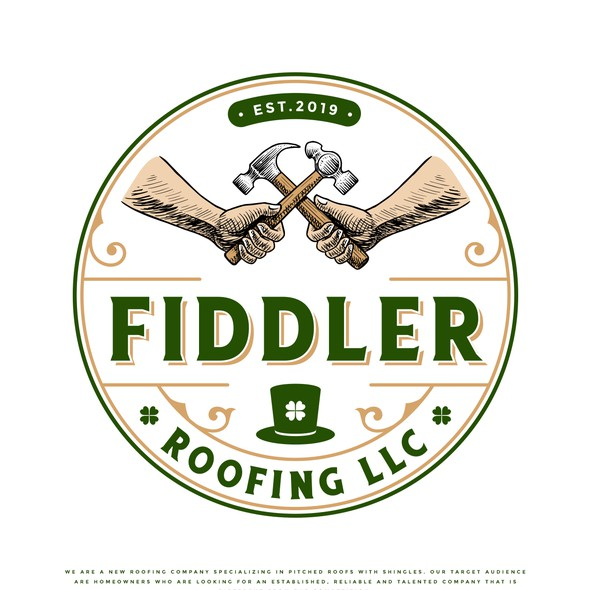 Irish design with the title 'Fiddler Roofing LLC'