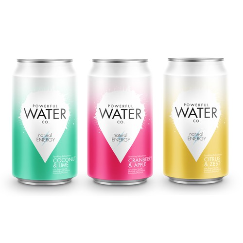 Water packaging with the title 'Powerful water'