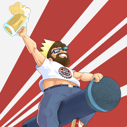 Funny artwork with the title 'Drunk Geek on Microphone'
