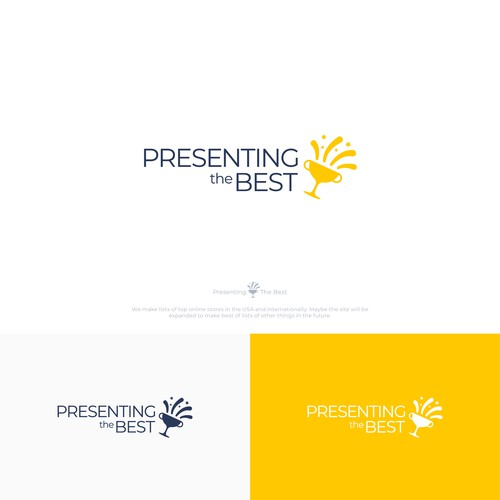 """Trophy design with the title 'Minimal and playful logo concept for """"Presenting the Best'"""