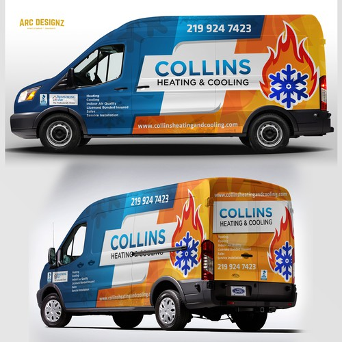 Vinyl wrap design with the title 'HVAC van wrap for colliins'