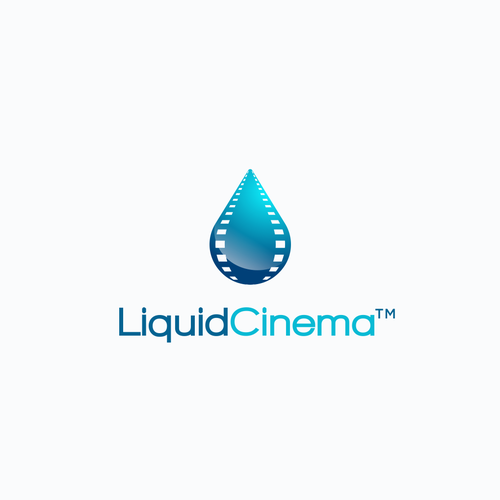 Water logo with the title 'Logo concept for Liquid Cinema'