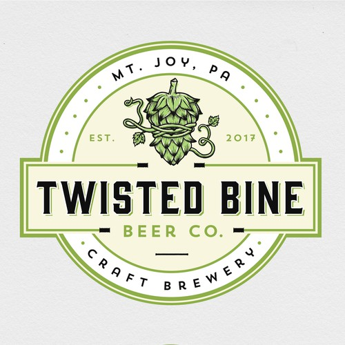Craft beer design with the title 'Twisted Bine Beer Co.'