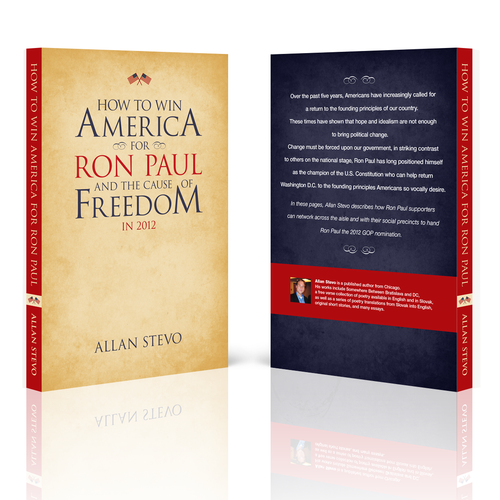 Political book cover with the title 'Book Cover for the 2nd Edition of a Book on Ron Paul and US Politics'