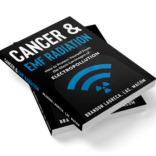 Health book cover with the title 'Simple cover design about cancer and EMF radiation'