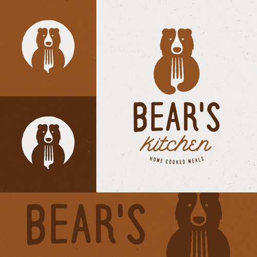 Brown logo with the title 'Bear logo for Bears Kitchen'