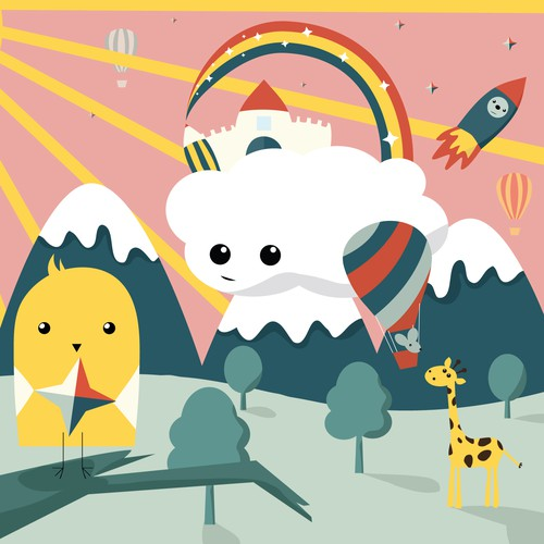 Cloud illustration with the title 'Nursery Art Design'