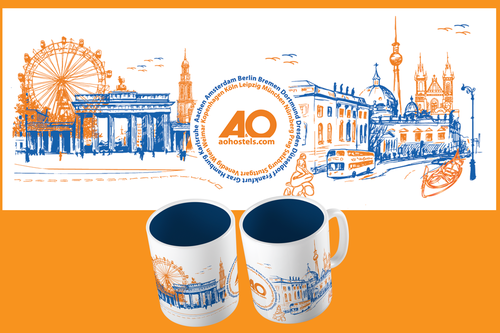 White and orange design with the title 'Create a mind-blowing mug design for a hostel chain'