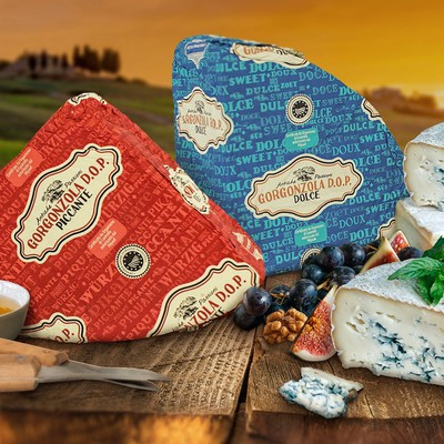 Patterned packaging for Netherlands gorgonzola cheese.