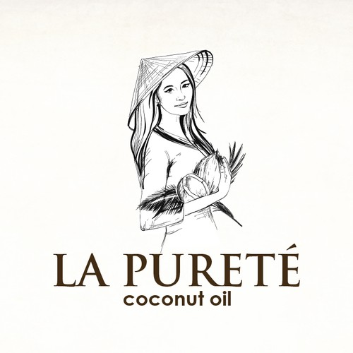 Traditional logo with the title 'Hand drawn logo for coconut oil manufacture'