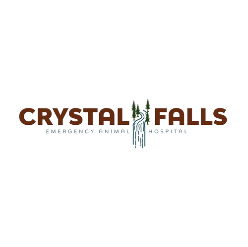 Waterfall logo with the title 'Crystal Falls Emergency Animal Hospital'