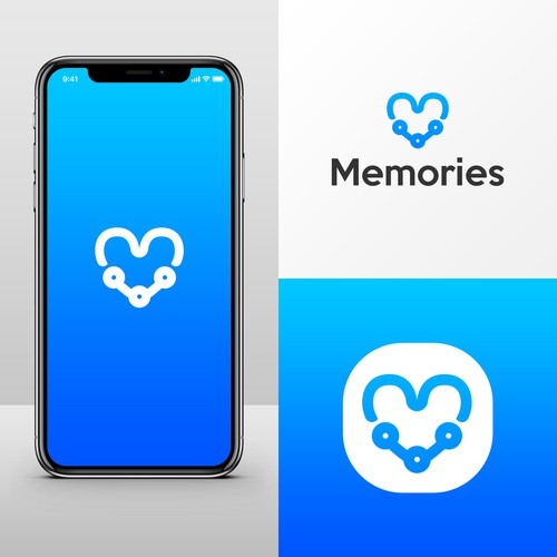 Memories logo with the title 'Logo concept for a phone application'