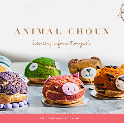 Pastry design with the title 'Franchise information pack design for Doux Amour'