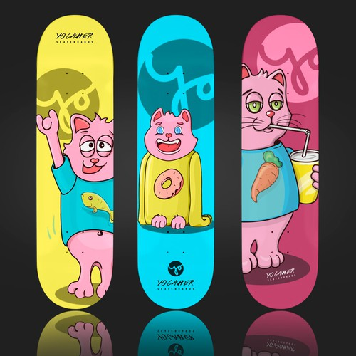 Deck design with the title 'YOCAHER Skateboards'