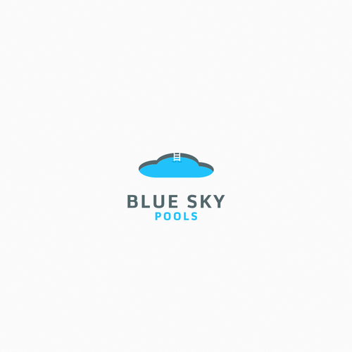 Swimming pool design with the title 'Blue Sky Pools'