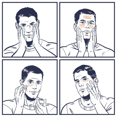 """Face illustration with the title '4 illustrations of a man applying 4 different products """"Tread"""" to his face.'"""