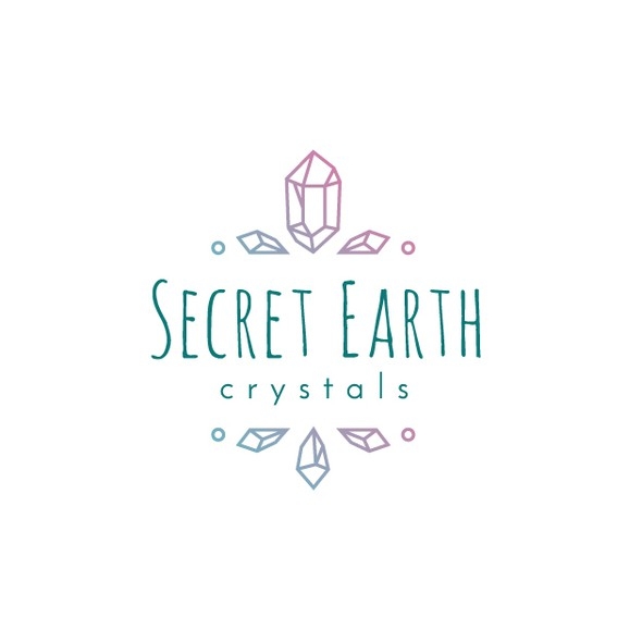 Crystals logo with the title 'Logo Concept for Secret Earth Crystals'