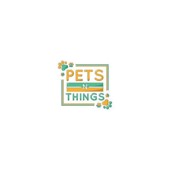 Yellow logo with the title 'Fun logo for pets n things'