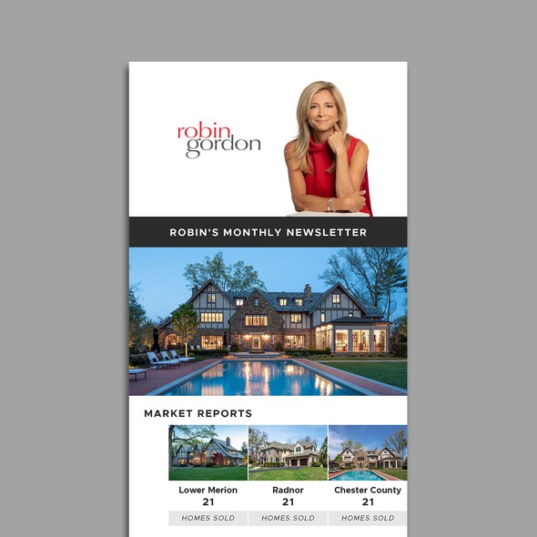 Clean design with the title 'Email Newsletter Design for a Real Estate Company'