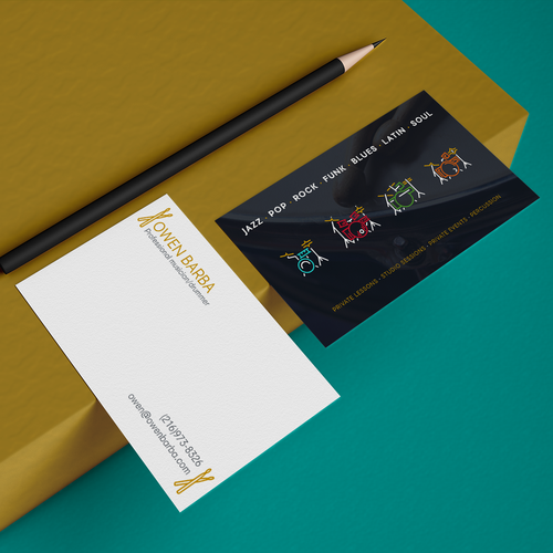 Drummer design with the title 'Personal Business Card for Drummer'