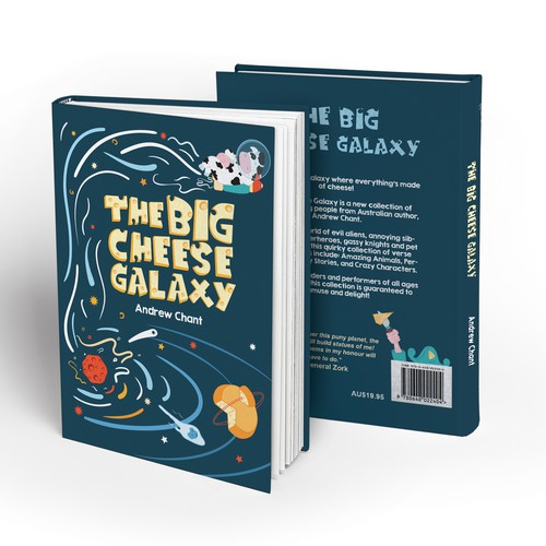 Galaxy book cover with the title 'Book cover illustration'