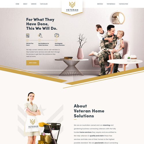 Retro website with the title 'Veteran Home Solutions'