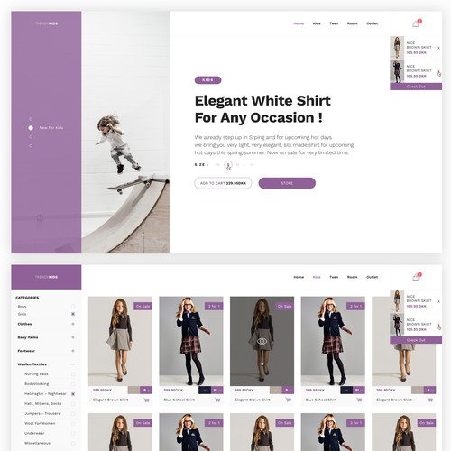 Online store website with the title 'Clothes Shop'