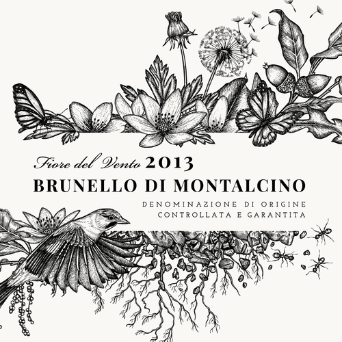 "Plant design with the title 'Illustration for Brunello di Montalcino 2013 - Fiore del Vento Label of ""Corte Pavone"" Wine Estate in Montalcino, Toscana.'"