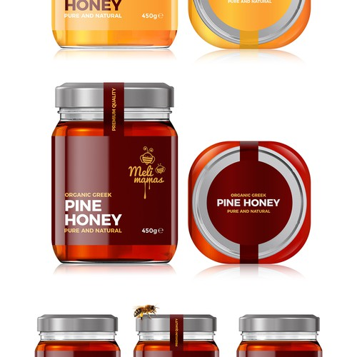 Honey label with the title 'Meli Mamas Honey'