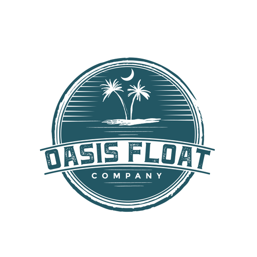 Island logo with the title 'oasis float'