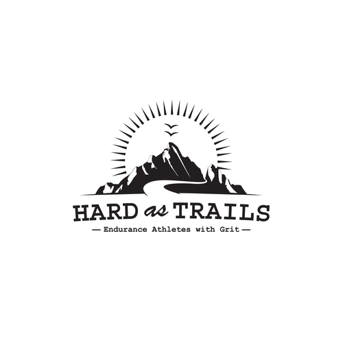 Mountain biking logo with the title 'Hard as Trails'
