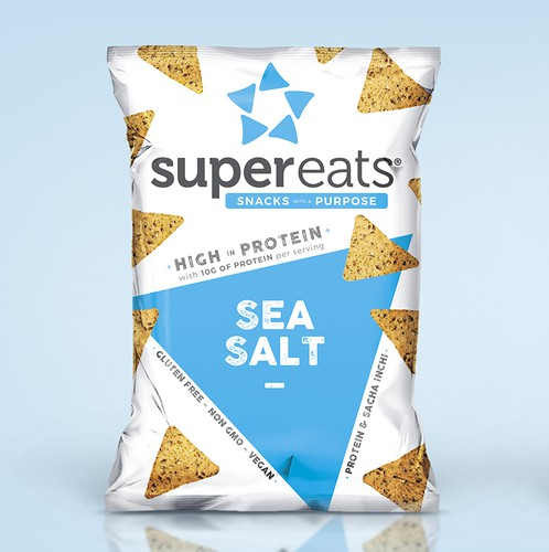 Snack packaging with the title 'SuperEats®'