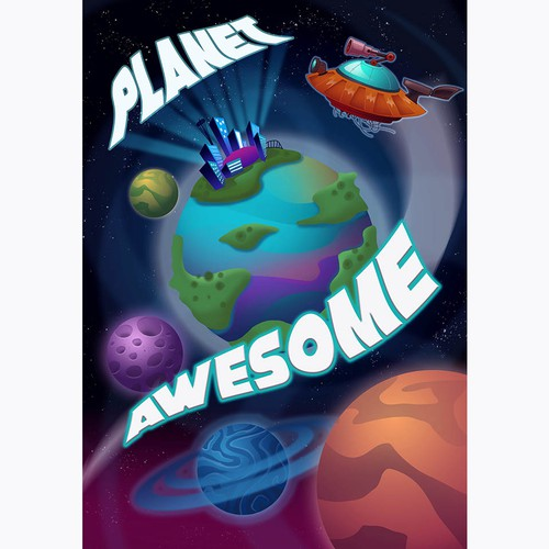 Planet illustration with the title 'Planet Awesome poster'