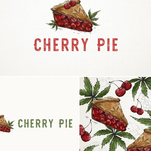 Green artwork with the title 'Cherry pie '