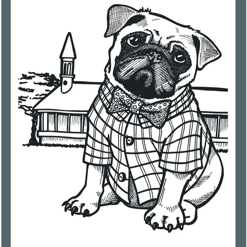 Black and white artwork with the title 'Fashion dog for pet apparel brand'
